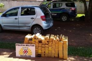 Em Tacuru, polícia apreende 186 kg de maconha em veículo furtado de São Paulo