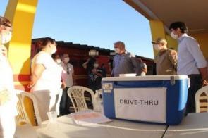 Drive-thru instalado no Corpo de Bombeiros amplia número de testes para Covid-19