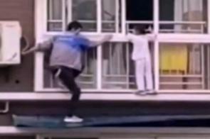 Homem salva criança pendurada na janela do sexto andar, veja o vídeo