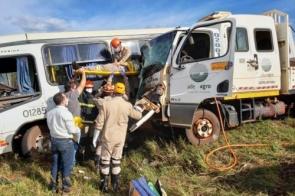 Acidente entre ônibus e caminhão de usina deixa 5 feridos em MS