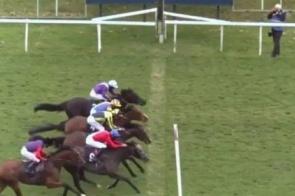 Em caso raro, quatro cavalos chegam juntos à linha final em corrida na Inglaterra