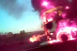 Carreta bitrem carregada com eucalipto fica destruída ao pegar fogo na BR-158