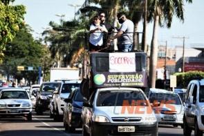 Comerciantes fazem carreata e pedem redução de aluguel em Dourados