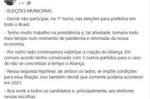 Bolsonaro diz que não apoiará candidatos a prefeito nas eleições de novembro