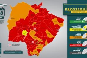 Sobe de 47 para 58 municípios na bandeira vermelha, de alto risco para Covid, em MS