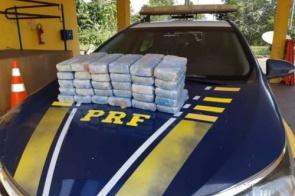 Em fiscalização, PRF apreende 28 Kg de pasta base de cocaína