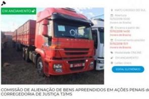Leilão do TJMS tem caminhões e carro com lance a partir de R$ 300