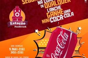 Toda segunda-feira, na compra de qualquer lanche você ganha uma coca mini na Estação Food Truck