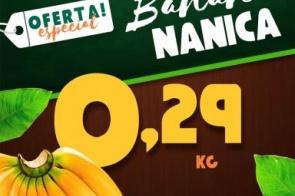 IMPERDÍVEL! Somente nesta segunda-feira (03) na Frutaria Pague Pouco Banana Nanica por R$ 0.29 kg