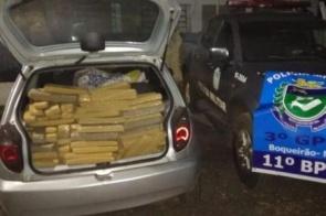 Polícia apreende carro com 393 quilos de maconha após perseguição