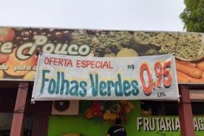 Imperdível: Apenas na Frutaria Pague Pouco você paga R$ 0,95 nas folhas verdes