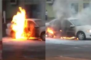 Veículo é consumido pelas chamas no Água Boa; veja vídeo