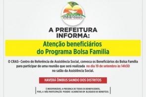 Reunião com beneficiários do Bolsa Família será no próximo dia 19 na Assistência Social