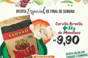 Imperdível: Compre o carvão e a mandioca do seu churrasco por apenas R$ 9,90 na Frutaria Pague Pouco