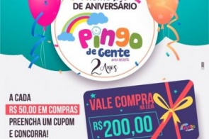 Outubro é mês de aniversario da loja Pingo de Gente e quem ganha o Presente é você cliente com Promoção especial