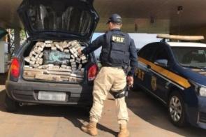 Polícia apreende mais de 300kg de maconha dentro de carro na fronteira