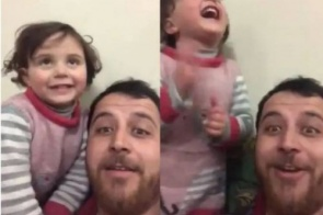 Em meio à guerra, pai cria jogo para filha rir durante bombardeios