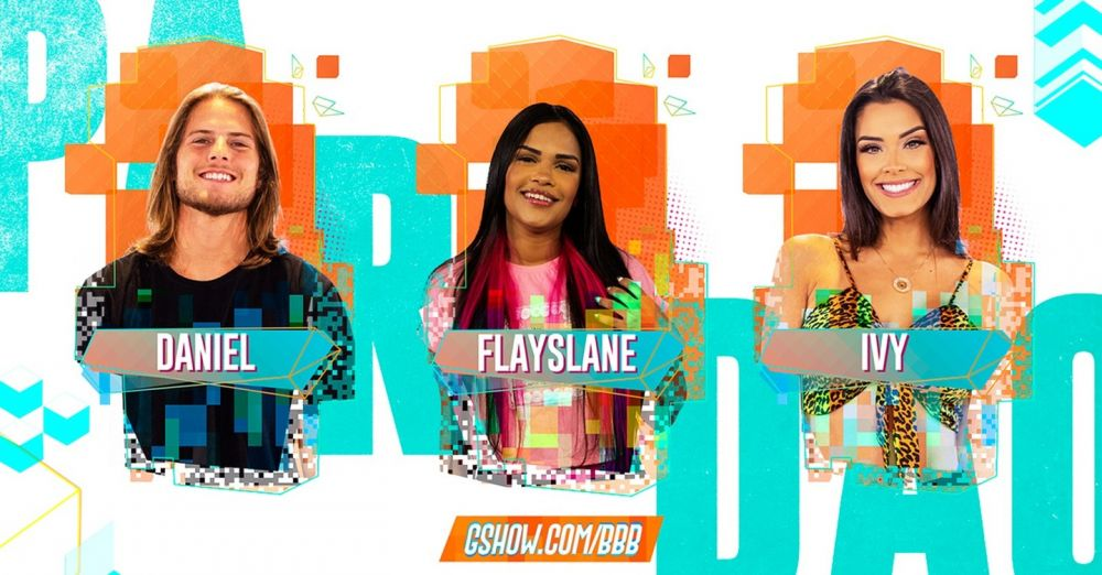 Daniel, Flayslane e Ivy se enfrentam no nono Paredão do BBB20 - Crédito: TV Globo