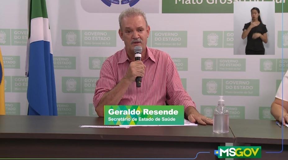 Secretário de saúde Geraldo Resende durante coletiva à imprensa pela internet Foto: reprodução