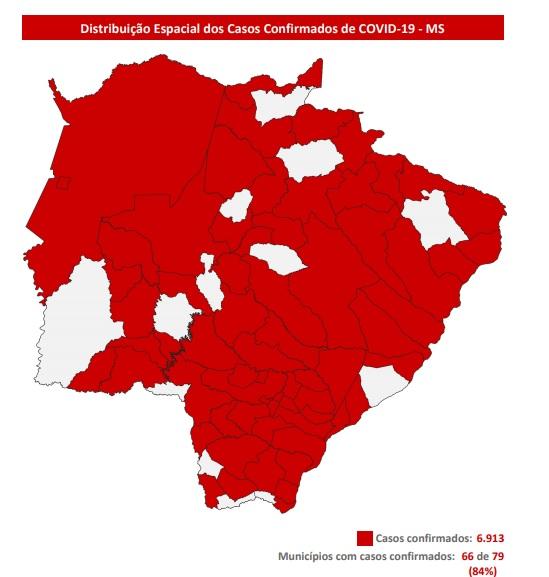 Mapa de casos confirmados divulgado pela SES - Crédito: Reprodução SES