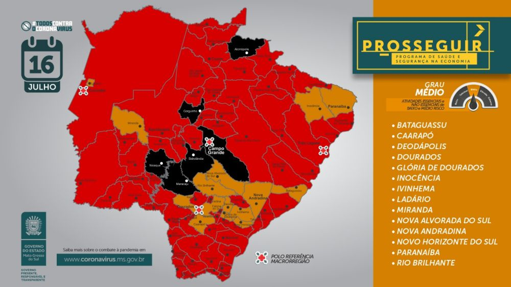Além de Dourados, outras 13 cidades figuram com o mesmo nível de risco - Crédito: Reprodução