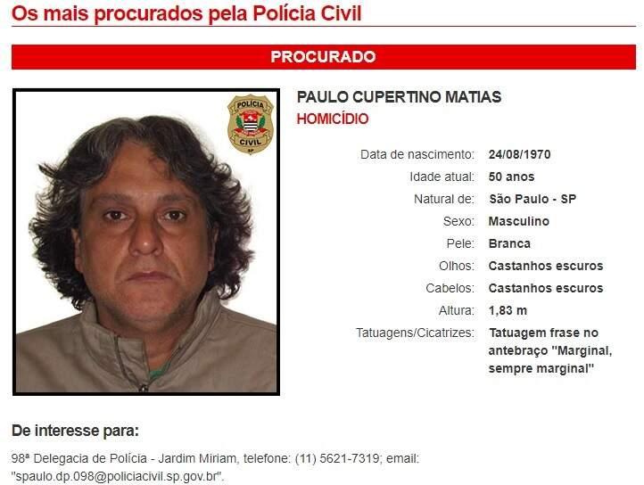 Paulo Cubertino está na lista dos mais procurados criminosos em São Paulo. (Foto: Reprodução da internet)