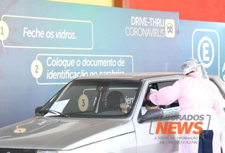 Drive thru detectou 21 novos casos positivos de Covid-19 em Dourados - Crédito: Hedio Fazan/Dourados News/Arquivo