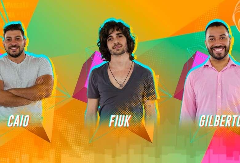 Caio, Fiuk e Gilberto disputam o 12º Paredão do BBB21 - Crédito: Gshow