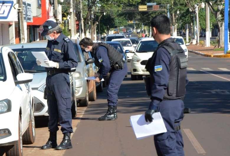 Fiscalização vem ocorrendo em Dourados desde domingo, quando teve início o lockdown - Crédito: Divulgação