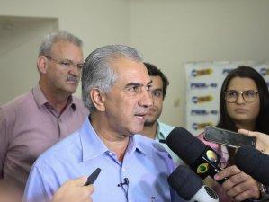 Governador Reinaldo Azambuja, candidato à reeleição pelo PSDB, em entrevista (Foto: Paulo Francis/Arquivo)