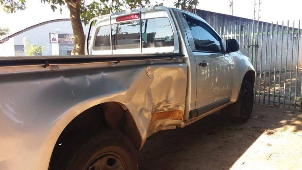 S10 do acusado após a colisão (Foto: Divulgação/Polícia Civil de Dourados)