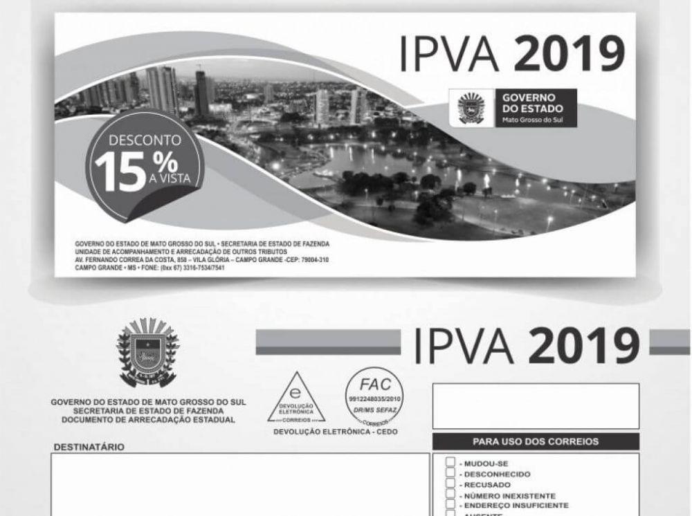 Boleto do IPVA 2019 (Foto: reprodução/Governo de MS)