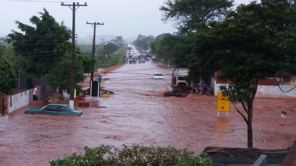Itaporã foi atingida por forte chuva - Crédito: Itaporã News