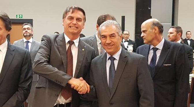 Presidente Jair Bolsonaro e governador Reinaldo Azambuja no Fórum de Governadores eleitos em 2018. - Crédito: Subcom/Arquivo