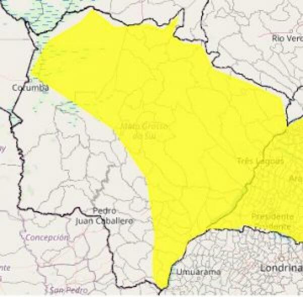 Alerta para risco de chuvas intensas vale para 55 municípios sul-mato-grossenses (Foto: Reprodução)